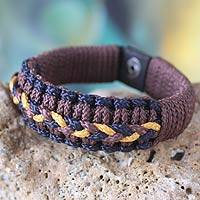 Men's wristband bracelet, 'Brown and Yellow Hausa' - Men's wristband bracelet