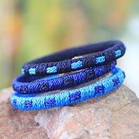 Bangle bracelets, 'Azure Fantasy' (set of 3) - Bangle bracelets (Set of 3)