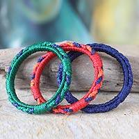Bangle bracelets, 'Valley Akan Enigma' (set of 3) - Unique Bangle Bracelets (Set of 3)