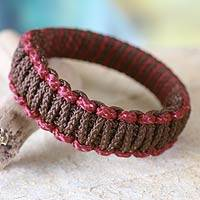 Bangle bracelet, 'Queen Amina in Brown and Wine Parallel' - Bangle bracelet