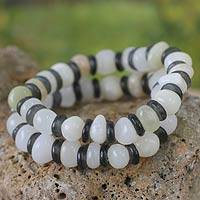Beaded stretch bracelets, 'Aye Mu Ye' (pair) - Recycled Beaded Glass and Agate Bracelets (Pair)