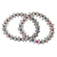 Beaded stretch bracelets, 'Odo Akoma' (pair) - Contemporary West African Eco-friendly Womens Bracelets