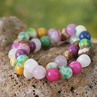 Beaded stretch bracelets, 'Odo Be Ba' (pair) - Beaded Agate Stretch Bracelet (Pair)