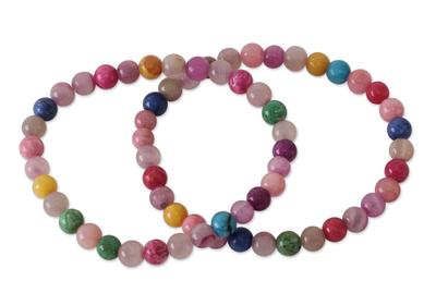 Beaded Agate Stretch Bracelets (Pair)
