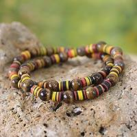 Tiger's eye stretch bracelets, 'Akoma Pa' (pair) - Tiger's Eye Beaded Stretch Bracelets (Pair)