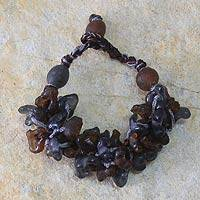Recycled bead bracelet, 'Midnight Fog' - Recycled bead bracelet