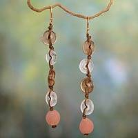 Recycled bead dangle earrings, 'Peachy Pretty' - Eco-Friendly Recycled Glass Earrings