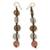 Recycled bead dangle earrings, 'Peachy Pretty' - Fair Trade African Recycled Glass Earring (image 2a) thumbail