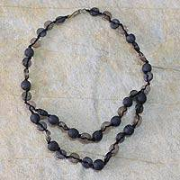 Recycled bead necklace, 'Pretty Taupe' - Recycled bead necklace