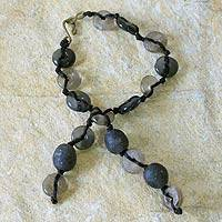 Recycled bead bracelet, 'Pretty Taupe' - Recycled bead bracelet