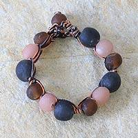 Recycled bead bracelet, 'Peach Allure' - Handcrafted Modern Recycled Glass Beaded Bracelet
