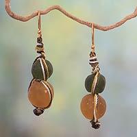 Recycled bead dangle earrings, 'Summer Fields'