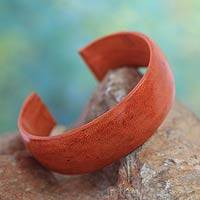 Leather cuff bracelet, 'Annula in Orange' - Leather cuff bracelet