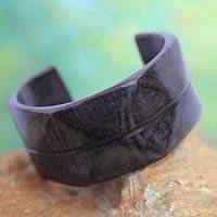 Leather cuff bracelet, 'Wend Konta in Plum' - Leather cuff bracelet