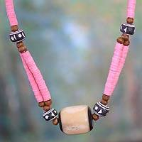 Bone beaded necklace, 'Pink Laafi' - Bone beaded necklace