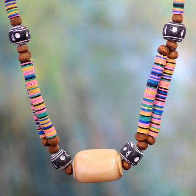 Bone beaded necklace, 'Multicolor Laafi' - Bone beaded necklace