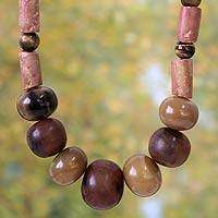 Bull horn and tiger's eye beaded necklace, 'Enapa' - Bull horn and tiger's eye beaded necklace