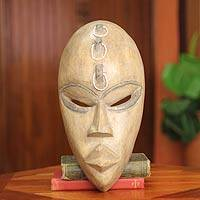 Wood African Mask, 'Ga Strength' - Hand Carved African Mask with Beads