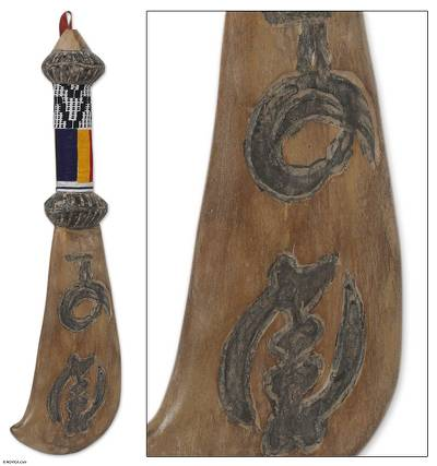 Wood wall sculpture, 'Chief's Machete of Tradition' - Wood wall sculpture