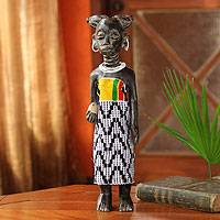 Wood sculpture, 'On Her Birthday' - African Wood Sculpture Dressed in Beads and Kente