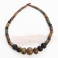 Soapstone and tiger's eye beaded necklace, 'Joyous Woman' - Soapstone and tiger's eye beaded necklace