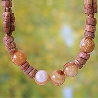 Bauxite beaded necklace, 'Oheneba' - Bauxite beaded necklace