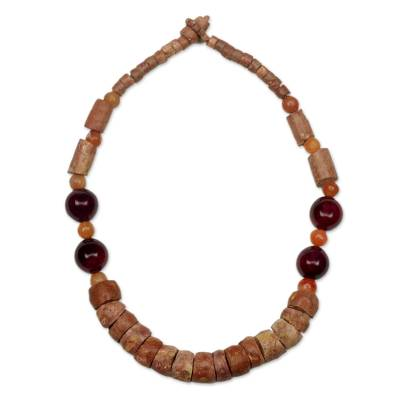 African Beaded Necklace Hand Made with Bauxite and Agate
