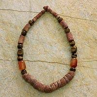 Tiger's eye and agate beaded necklace, 'Remembrance' - Tiger's eye and agate beaded necklace
