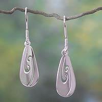 Sterling silver dangle earrings, 'The Heart Creates' - Sterling silver dangle earrings