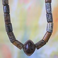 Men's soapstone long necklace, 'Royal Akan' - Artisan Crafted Men's Soapstone Pendant Necklace
