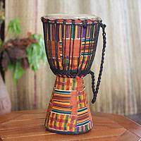 Wood djembe drum, 'African Kente' - Authentic African Djembe Drum with Kente Cloth