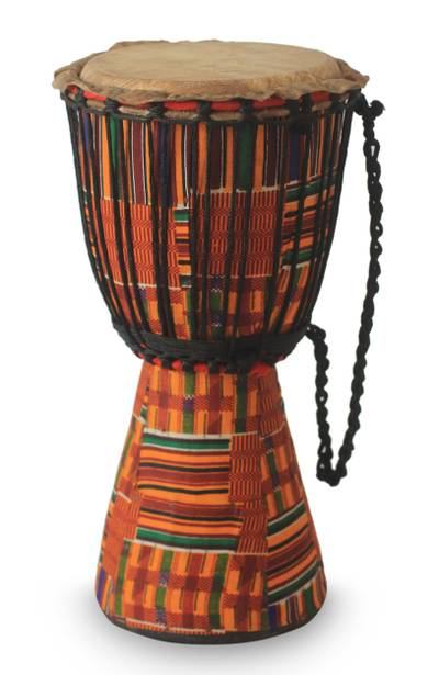 Authentic African Djembe Drum with Kente Cloth