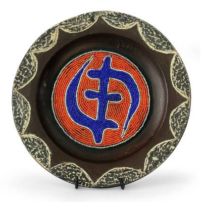 African Beaded Wood Decorative Plate and Stand
