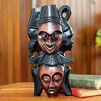 Ghanaian wood mask, 'A Happy Family' - African wood mask