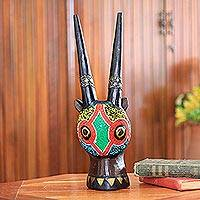 Ghanaian wood mask, 'Beaded Antelope' - African wood mask
