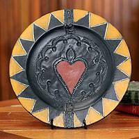 Wood decorative plate, 'Love of Nature' - Wood decorative plate