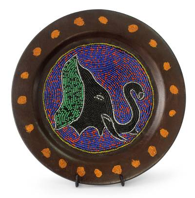 Decorative African Beaded Wood Plate
