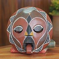 African wood mask, 'Asomdwoe I' - African Wood Mask Original Artisan Design