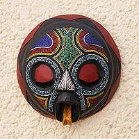 African beaded wood mask, 'Asomdwoe II' - Original African Wood Mask With Beaded Design