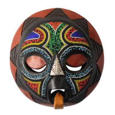 African beaded wood mask, 'Asomdwoe II' - African Beaded Wood Mask Original Artisan Design
