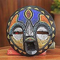 African wood mask, 'Sadaki' - African Bridal Beaded Mask Crafted by Hand