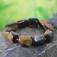 Tiger's eye beaded stretch bracelets, 'Esombo Kese' - Tiger's eye beaded stretch bracelets