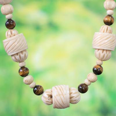 Bone and tiger's eye beaded necklace, 'Hewale' - Bone and tiger's eye beaded necklace