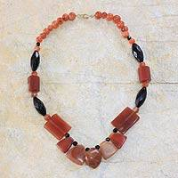 Agate and onyx beaded necklace, 'Dromo' - Agate and onyx beaded necklace