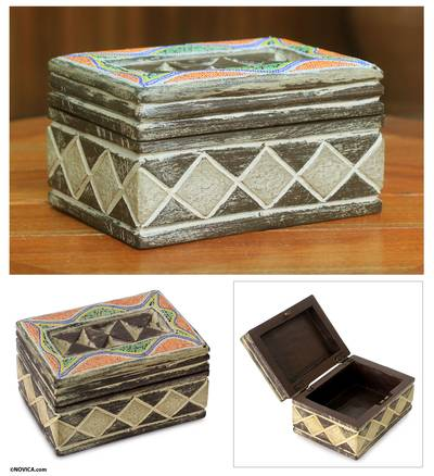 Beaded wood jewelry box, 'Ghana Tradition' - West African Beaded Wood Jewelry Box