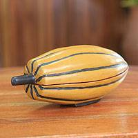 Wood decorative box, 'Cocoa Pod' - Hand-carved Wood Decorative Box from Ghana