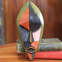 Africa mask, 'Handsome Ewe Elder' - Ghanaian African Mask in Bright Colors