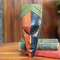 African mask, 'Handsome Young Man' - Authentic African Mask from Ghana