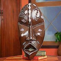 African wood mask, 'Gye Nyame' - Handcrafted African Mask with Adinkra Symbols