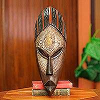 African wood mask, 'Akan Akoma' - Hand Carved Wood African Mask